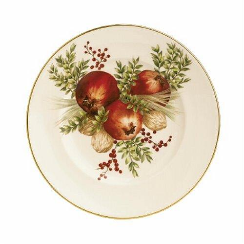 Lenox Wiliamsburg Boxwood & Pine Gold Banded Ivory China Pomegranate 9 Accent Plate