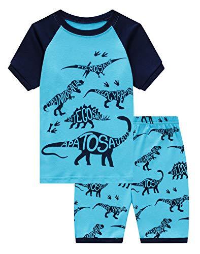 Family Feeling Big Boys Dinosaur Summer Pajamas Short Sets 100% Cotton Pjs Kid 8]()