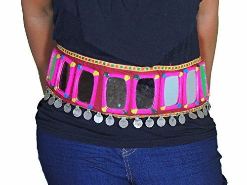 [NovaHaat Large Mirrors Coins Belly Dance Gypsy Belt - Costume Fashion Accessory Free Size] (Banjara Dance Costumes)