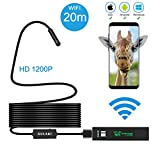Wireless Endoscope, GULAKI Wifi Borescope Inspection Camera IP 68 Waterproof Snake Camera with 8 Adjustable LED 3.5M Cable 1200P HD Picture for Android & IOS Smartphone, iPhone (Wireless Endoscope)