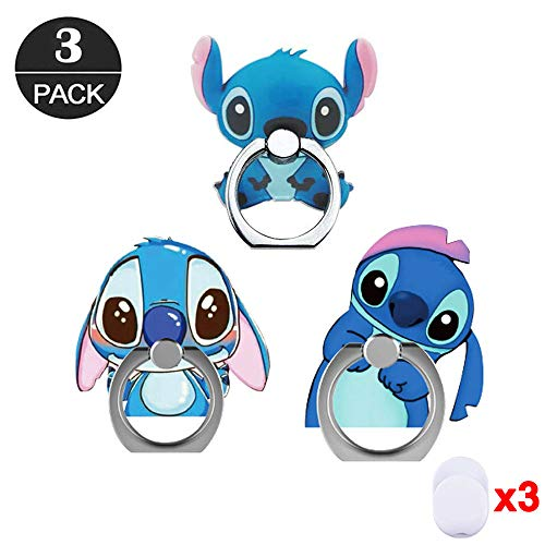 (ZOEAST(TM) 3 Pack Phone Ring Grip Lilo Blue Stitch Nani Alien Universal 360° Adjustable Holder Car Desk Hook Stand Stent Mount Kickstand Compatible with iPhone X Plus Samsung iPad Tablet (3pcs Stitch))