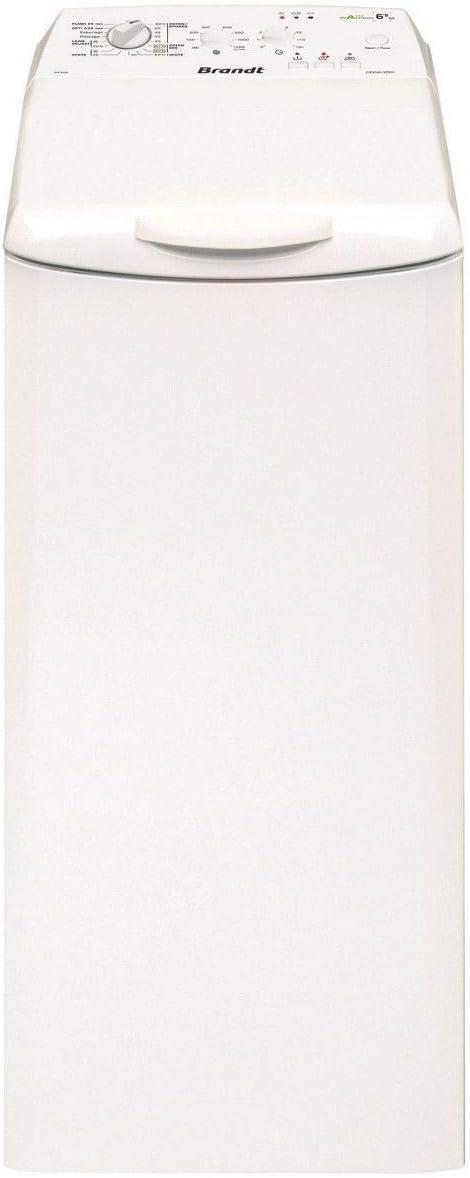 Brandt BWT652T - Lavadora independiente de carga superior (6,5 kg, 1200 rpm, A++), color blanco