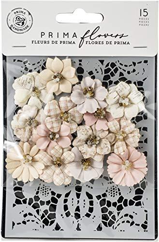 (Prima Marketing 635114 Lavender Frost Mulberry Paper Flowers 15/Pkg-Garden Petals W/Stencil)