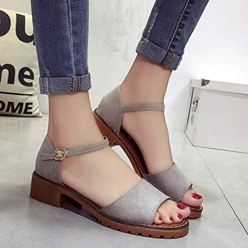 Tacones Correa Zapatos ora Sandalias de Zapatos de se de Las Tacones de Gruesos Heels del Peep Toes de Low Gruesos Zapatos Mujeres Elegantes Bombas Verano Tobillo Zapatos 0Zwq810v