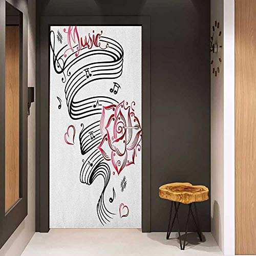 - Toilet Door Sticker Tattoo Language of Love Valentines Musical Inspiration on Sheet with Rose Hearts Glass Film for Home Office W35.4 x H78.7 White Black and Pink
