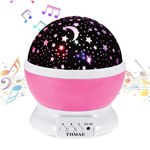 YHMAE Music Night Light Projector Lamp Baby Star Projector 360 Degree Rotating 9 Multicolor Changing with Rechargeable Battery,12 Soft Light Music for Relax and Sleep (Pink) (Star Projector And Sound Machine)
