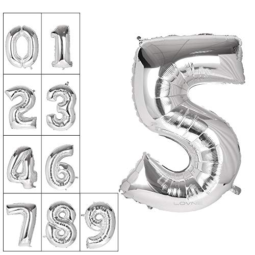 Lovne 40 Inch Jumbo Silver Number 5 Balloon Giant Prom Balloons Helium Foil Mylar Huge Number Balloons 0 to 9 for Birthday Party Decorations Wedding Anniversary