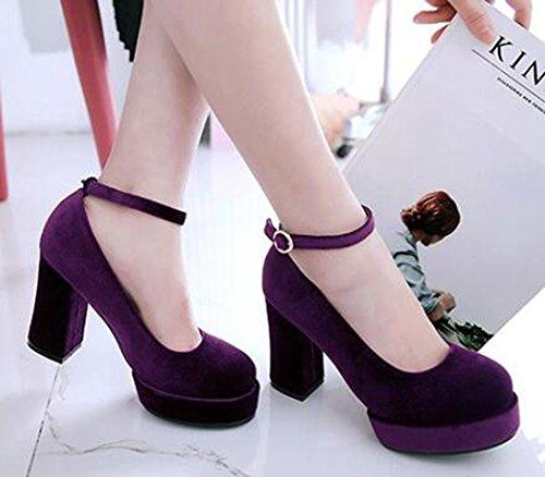 Idifu Womens Sexy Bout Rond Plate-forme Haute Chunky Talons Chaussures De Velours Chaussures Avec Bracelet À La Cheville Violet
