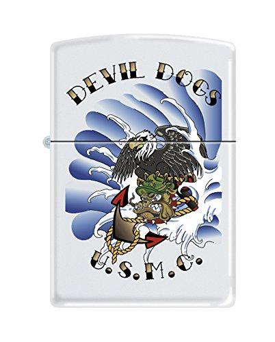Zippo USMC Devil Dogs White Matte Pocket Lighter