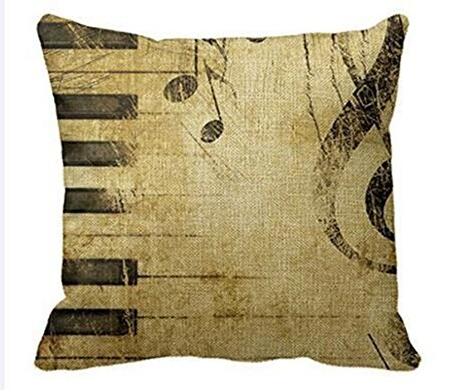 Andreannie Retro Shabby Sheet Music Black Piano Keys Musical Notes Cotton Linen Personalized Throw Pillow Case Cushion Cover New Home Office Decorative Square 18 X 18 Inches For Music Club (Piano Sheets For Bed)
