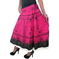 Mogul Womens Bohemian Skirt Printed Cotton Pink Lace Work Flared Gypsy Skirts