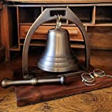 Engraved Large Antiqued Brass Desk Bell with Striker