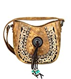 Montana West Concealed Carry Floral Boot Scroll Embroidered Crossbody- 3 Colors(Brown)