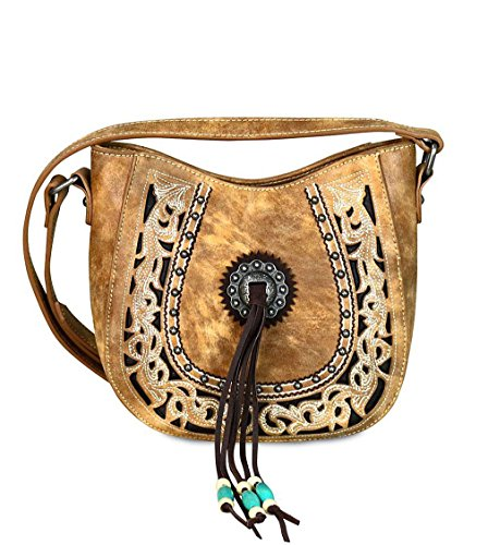 Montana West Concealed Carry Floral Boot Scroll Embroidered Crossbody- 3 Colors(Brown) by Montana West
