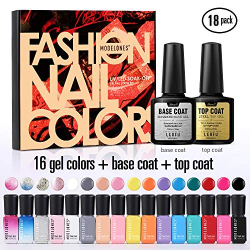 Modelones Gel Nail Polish Set - 16 Color Gel Nail Polish 6ml Mini Size with 10ml No Wipe Base and Top Coat,18 PCS Soak Off Gel Nail Varnish Starter Manicure Kit