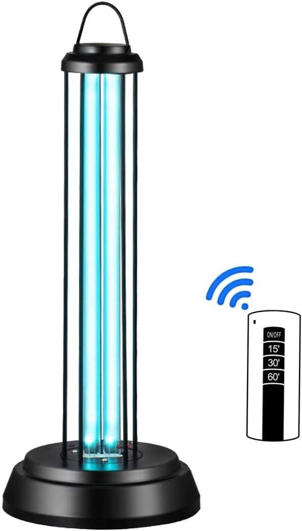 OnReal Luz UV, luz de desinfección UV-C, lámpara germicida UV portátil con Control Remoto de ozono Tercera Marcha para hogar, Escuela, Oficina, Hospital, etc.