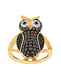 Brown, Black & White Natural Diamond Owl Ring In White Gold Over Sterling Silver (0.41 Cttw)