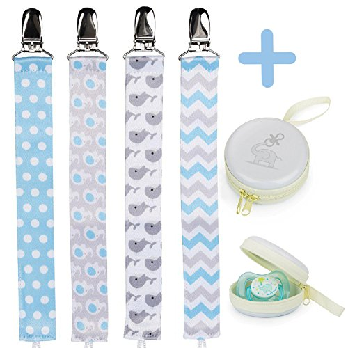 Pacifier Clip Holder For Boys + Pacifier Case by Bubble Pleasure - 4 Pieces Pack - Unisex Universal Designs Pacifiers Clips, Newborn Baby Gift Set, Best Cute Soothies Pacifier Holder For Girl Boy	 (Boys Bubble)