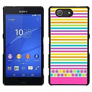 EJOY---Cubierta de la caja de protección para la piel dura ** Sony Xperia Z3 Compact ** --Líneas Líneas del creyón coloridas amarillo
