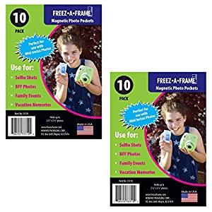 PHOTO4LESS Freez-A-Frame Magnetic Photo Pockets for Fuji Mini Instax Photos (Wallet Size) 2X 10 Pack