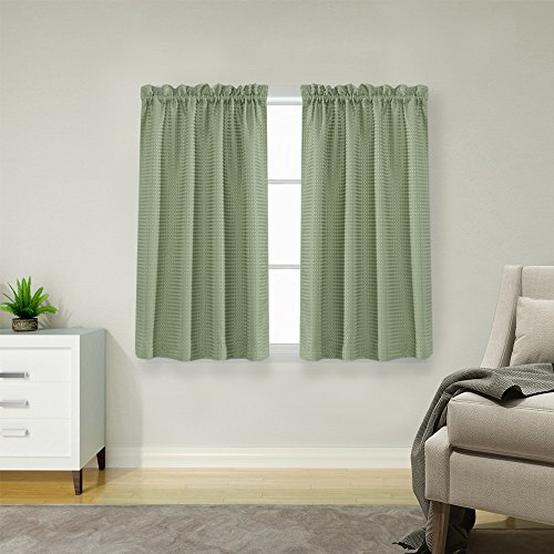 Green Window Curtain - Olive Room Darkening Sage Green Small Window Curtains 45 inch Length Waterproof Waffle Weave Textured Cafe Curtains Half Window Treatment Sets for Bedroom 2 Panel