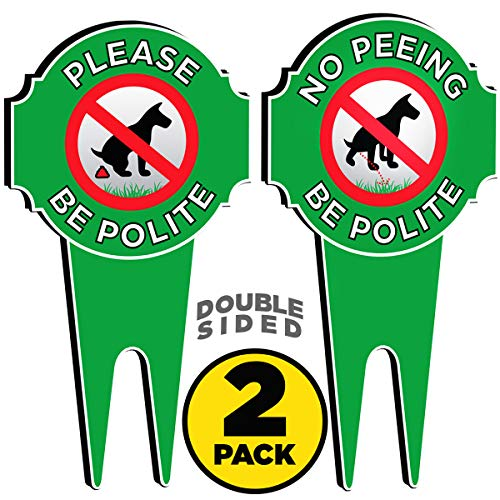 SignDuty Double Sided Metal No Peeing Dog Yard Sign - DiBond Aluminum No Pooping Dog Yard Sign - Protect Your Grass & Property (2) ()