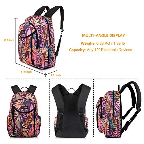 dc766e56eb8f JEMIA Pink Purple Leaves Style Backpack with Multi Compartments and Laptop  Pocket Holder