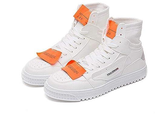 1 Zapatos De Hombre Hip-Hop High Zapatos De Hombre Zapatos De Lona Ocasionales De Hombre,White,42: Amazon.es: Ropa y accesorios