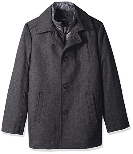 Tommy Hilfiger Men's Briggs 32 Inch Top Coat With Quilted Bib, Charcoal, 48R by Tommy Hilfiger