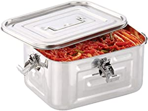 TULGIGS Stainless Steel 101oz(3L) Rectangular Seal Kimchi Food Leakproof Airtight Storage Container Saver