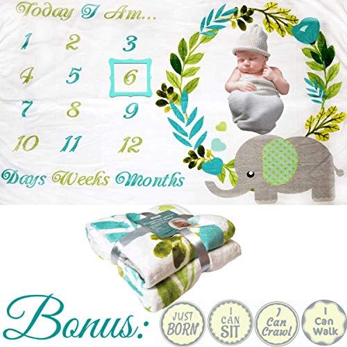 Baby Monthly Milestone Blanket - for Boy or Girl (Large Elephant Blanket, 60