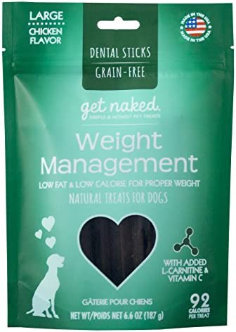 Get Naked Grain Free 1 Pouch 6.6 Oz Weight Management Dental Chew Sticks, Large