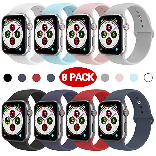 Muzzai Sport Band Compatible for Apple Watch 44mm 40mm 42mm 38mm, Soft Silicone Strap Replacement iWatch Bands for Apple Watch Sport,Series 4, Series 3, Series 2, Series 1 S/M M/L