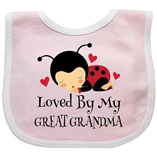 Inktastic - Loved By My Great Grandma Baby Bib Pink/White (Grandma Bib Great)