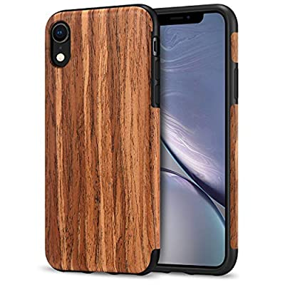 TENDLIN Cover iPhone XR Grano di Legno e TPU Silicone Hybrid Cover Compatibile con iPhone XR (Legno di Sandalo Rosso)