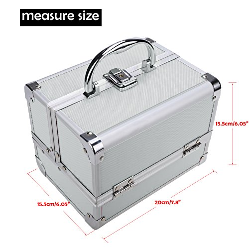 Extendable Portable Makeup Train Case Organizer with Mirror Jewelry Box Lockable Cosmetic Travel Case Organizer Storage Box with 2 Keys for Women, 7.8 x 6.05 x 6.05inch (Silver Pink) by Elopea (Image #5)