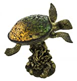 Glass Accent Lamps Green Crackle Glass Sea Turtle Accent Lamp 8.5 X 8.75 X 6.5 Inches Green