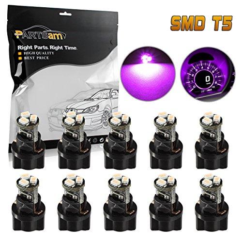 Partsam 10Pcs T5 73 74 Instrument Cluster Dash Shifter indicator LED Light Bulb Pink Purple 12V