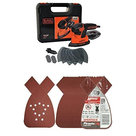Black + Decker KA2500K-GB 120W Next Generation Mouse Sander with Kit Box, Accessories and Piranha Mouse Sheet Sparpack