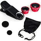 SHEENROAD Universal 3 in 1 Fish Eye & Macro Clip Camera Lens Kit for iPhone 4 4S 4G 5 5G /Samsung Galaxy HTC Etc Most Cellphone Smart Phones