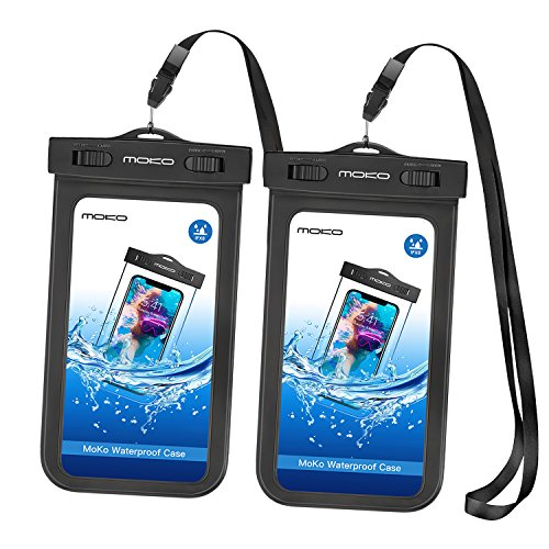 (MoKo Waterproof Phone Pouch [2 Pack], Underwater Waterproof Cellphone Case Dry Bag with Lanyard Armband Compatible with iPhone X/Xs/Xr/Xs Max, 8/7/6s Plus, Samsung S10/S9/S8 Plus, S10 e, Up to 6.5