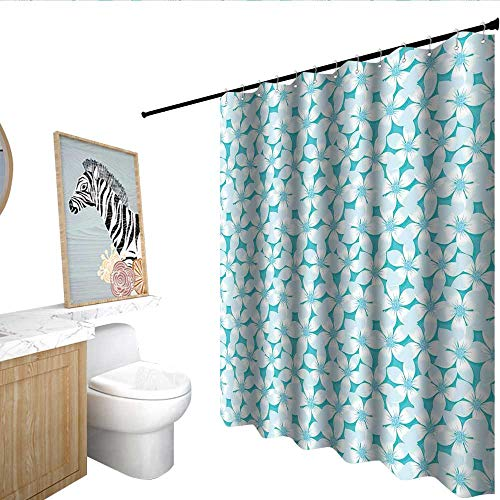 Shower Flower Giraffe Blue (homecoco Turquoise Shower stall Curtains Macro Tropical Hibiscus Flowers Pattern in Gradient Colors Hawaiian Exotic Print Cool Shower Curtain Blue White W108 x L72)