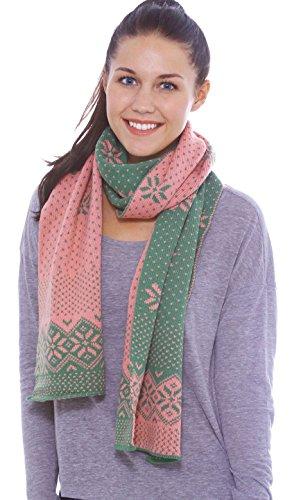 - Women's Reversible Multi-Colored Reindeer Knit Long Scarf Shawl, Green & Pink