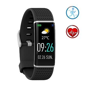 Reloj Inteligente Pulsera de Actividad con Pulsómetro y IP67 Impermeable Podómetro Monitor de Sueño Bluetooth SmartWatch Compatible con Android y ...