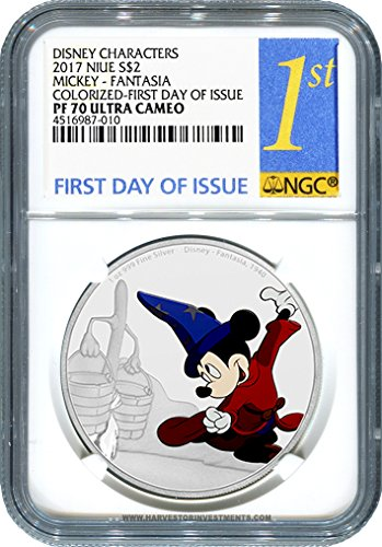 2017 NU Disney Mickey Through the Ages Series: Fantasia - 1 oz. Silver Proof - CERTIFIED NGC PF70 FIRST DAY OF ISSUE - Fourth Coin of the Series - Brand New $2 PF70 NGC FIRST DAY OF ISSUE