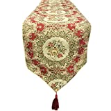 Wrapables Vintage Old World Table Runner with Gold Embroidery and Tassels, 86 by 13.5-Inch, Imperial Gold