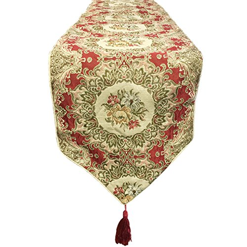 Wrapables Vintage Old World Table Runner with Gold Embroider