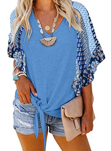 (Asvivid Womens Boho Floral Printed V Neck Bell Short Sleeve Summer Shirt Loose Ladies Casual Tops and Blouses S Blue)
