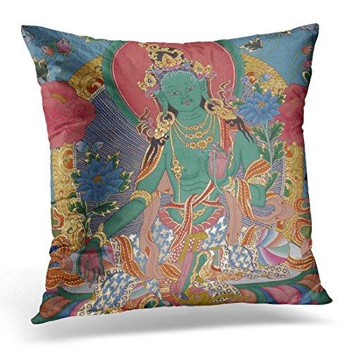 Cover Tibetan Green Tara Thanka Buddhist Spiritual Yoga Meditation Decorative Pillow Case Home Decor Square 20 x 20 Inch Pillowcase ()