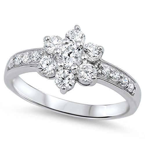 tion Sterling Silver Women's Colorless Cubic Zirconia Cluster Flower Ring (Sizes 4-11) (Ring Size 11) ()